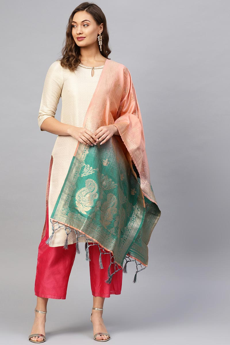 Trendy Peach Art Silk Weaving Work Dupatta