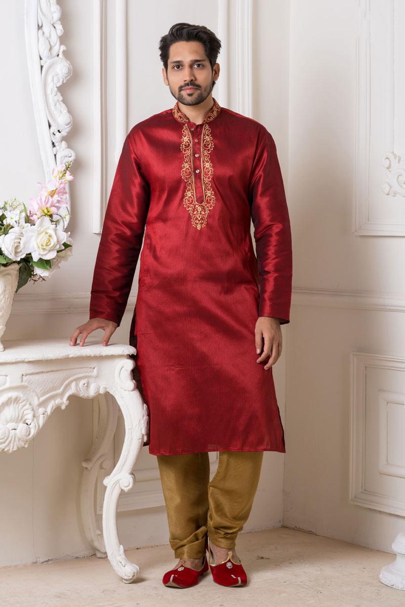Art Silk Fabric Mens Wear Kurta Pyjama In Red Color