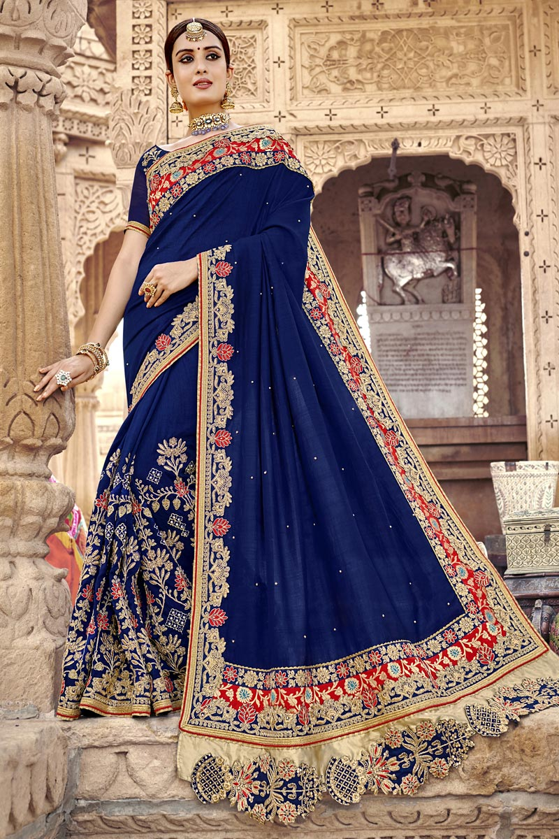 Blue Traditional Wear Art Silk Elegant Embroidered Saree