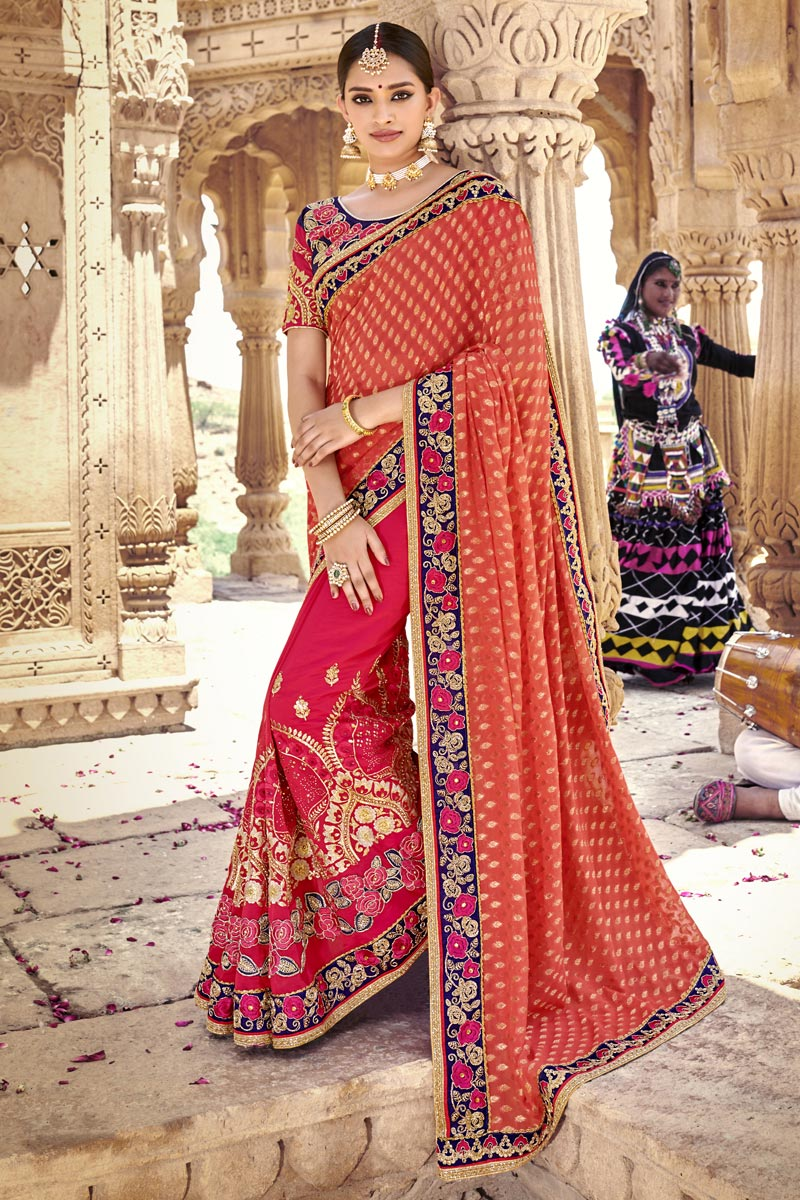 Pink Traditional Wear Elegant Embroidered Saree In Art Silk And Brasso