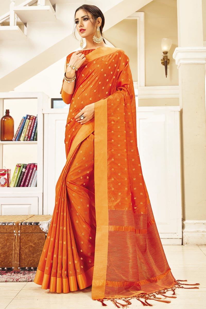 Festive Wear Art Silk Classic Weaving Work Saree In Orange