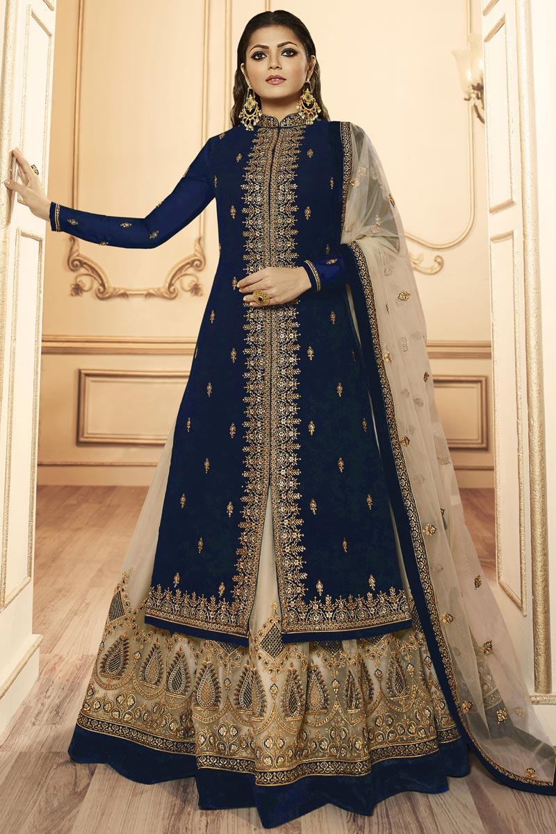 Drashti Dhami Function Wear Georgette Navy Blue Embroidered Designer Sharara Top Lehenga