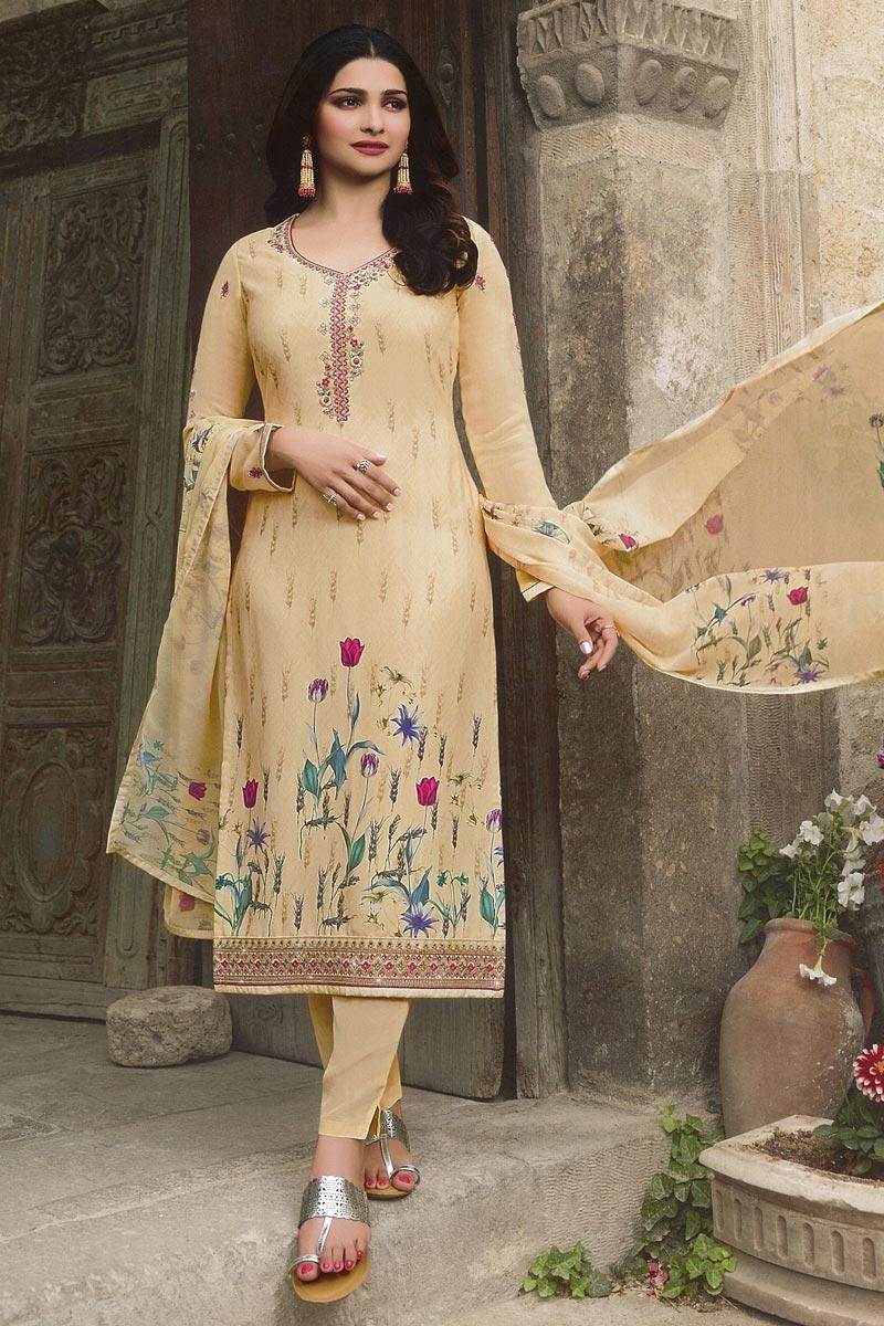 Eid Special Prachi Desai Fancy Crepe Fabric Festive Wear Printed Cream Straight Cut Suit