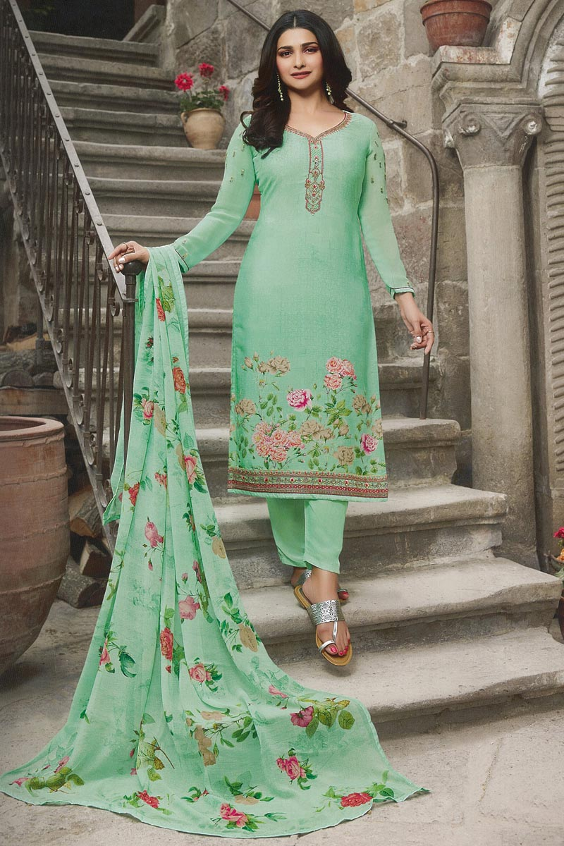 Eid Special Prachi Desai Sea Green Fancy Printed Festive Wear Straight Cut Dress In Crepe Fabric