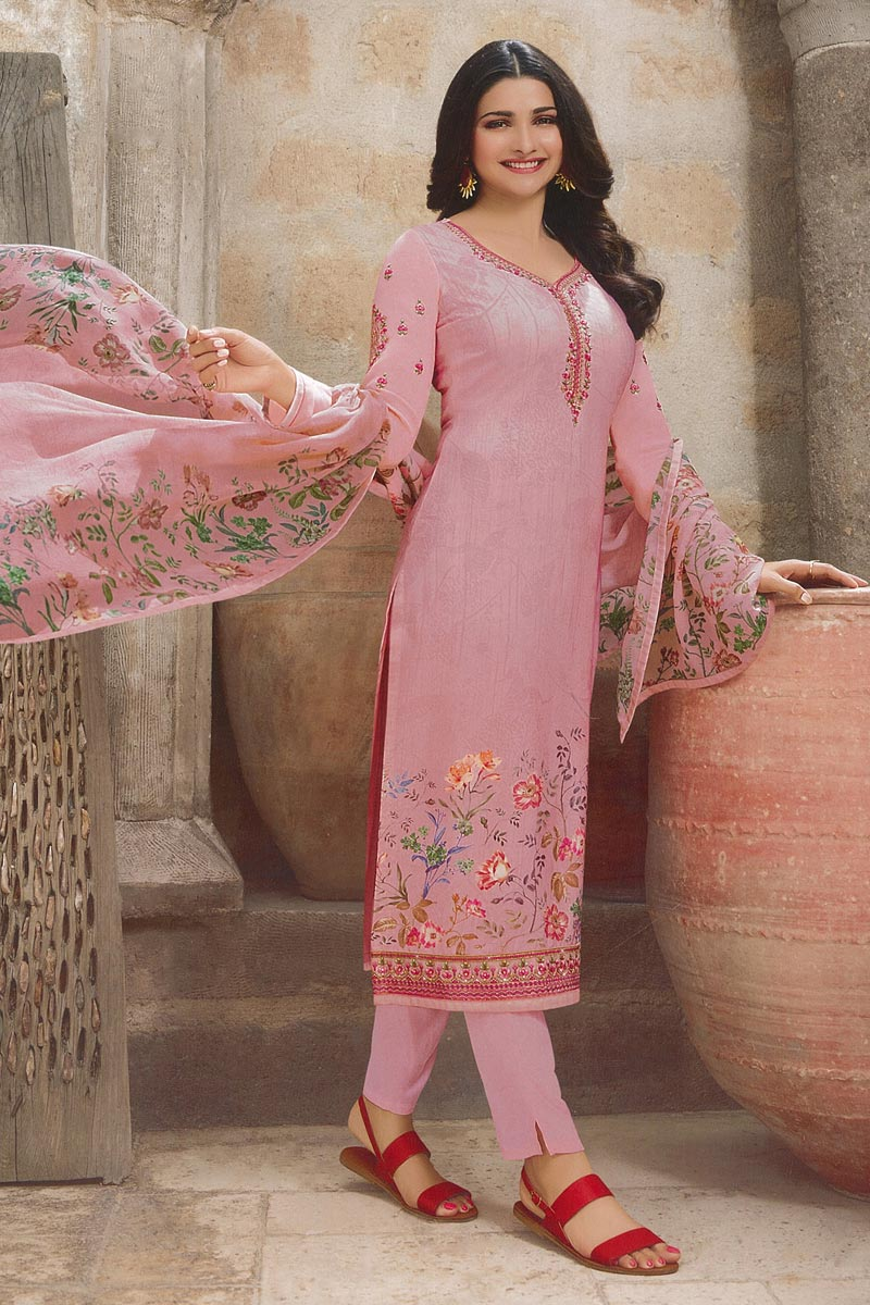 Eid Special Prachi Desai Fancy Crepe Fabric Festive Wear Pink Printed Straight Cut Suit