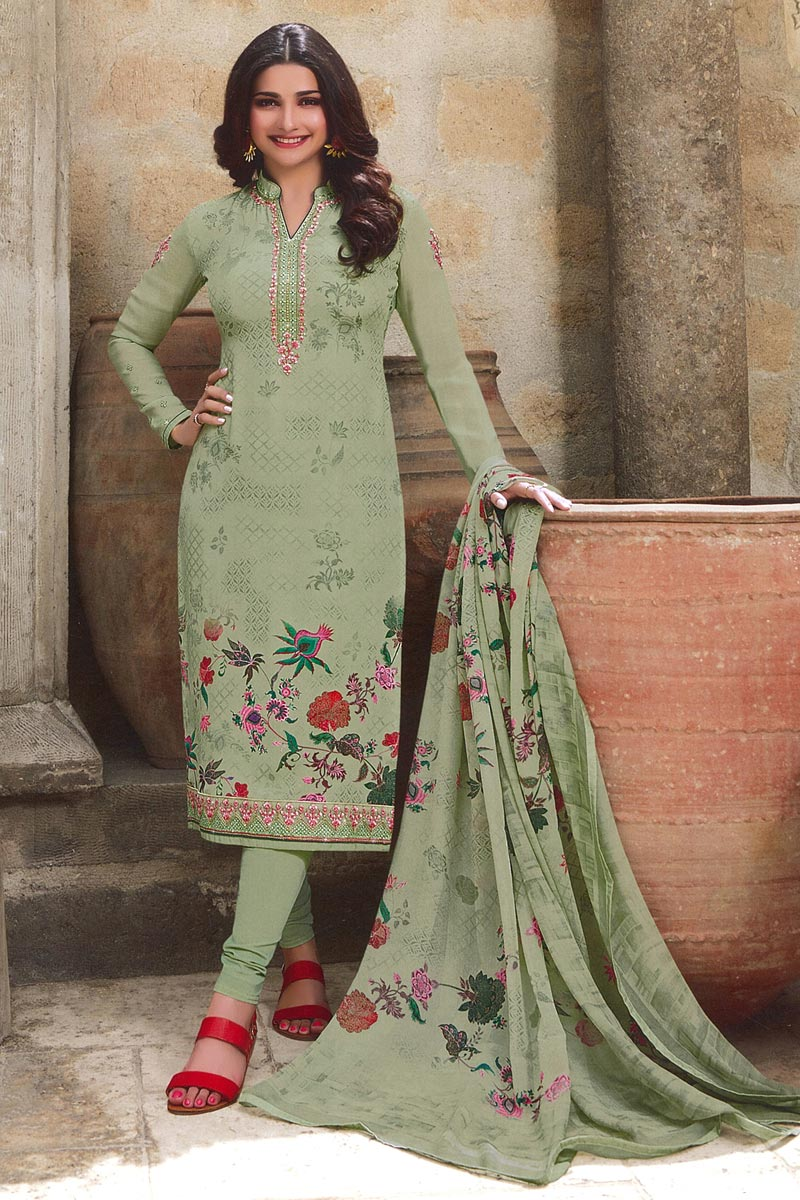 Eid Special Prachi Desai Sea Green Color Fancy Printed Festive Wear Straight Cut Dress In Crepe Fabric