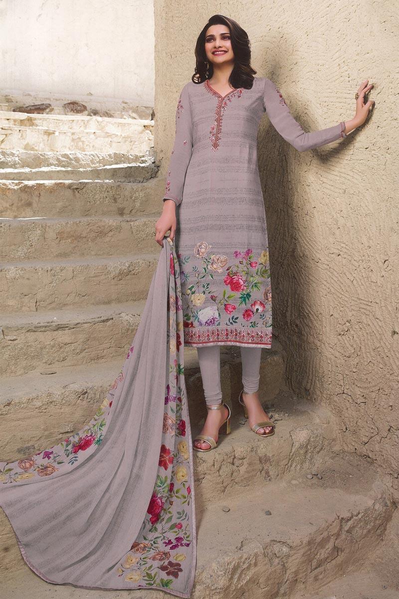 Eid Special Prachi Desai Lavender Color Fancy Printed Festive Wear Straight Cut Dress In Crepe Fabric