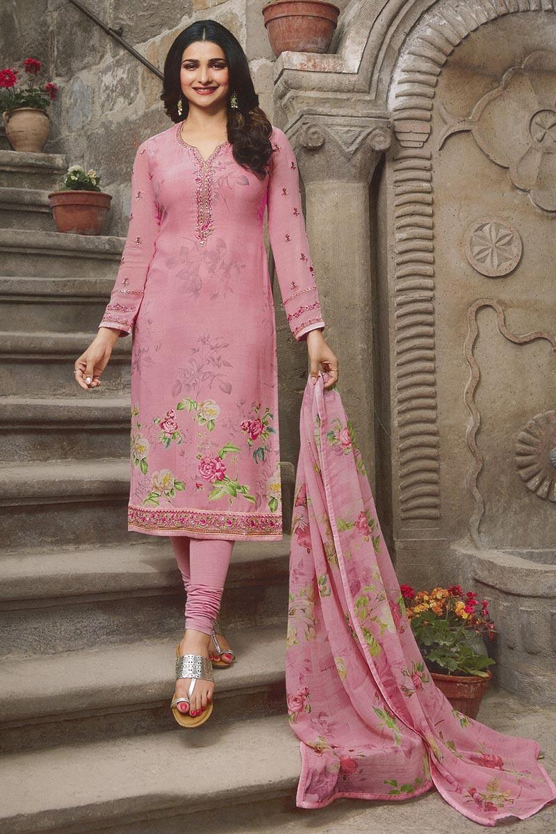 Eid Special Prachi Desai Fancy Pink Festive Wear Printed Crepe Fabric Straight Cut Suit