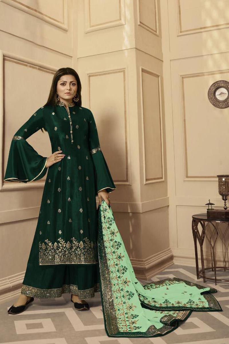 Drashti Dhami Fancy Georgette Function Wear Embroidered Dark Green Palazzo Suit