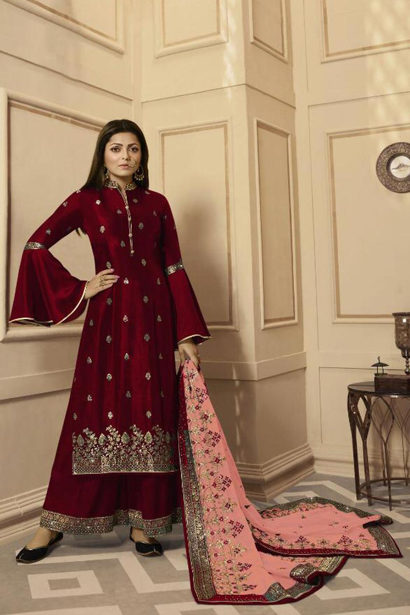 Drashti Dhami Maroon Fancy Embroidered Function Wear Palazzo Dress In Georgette