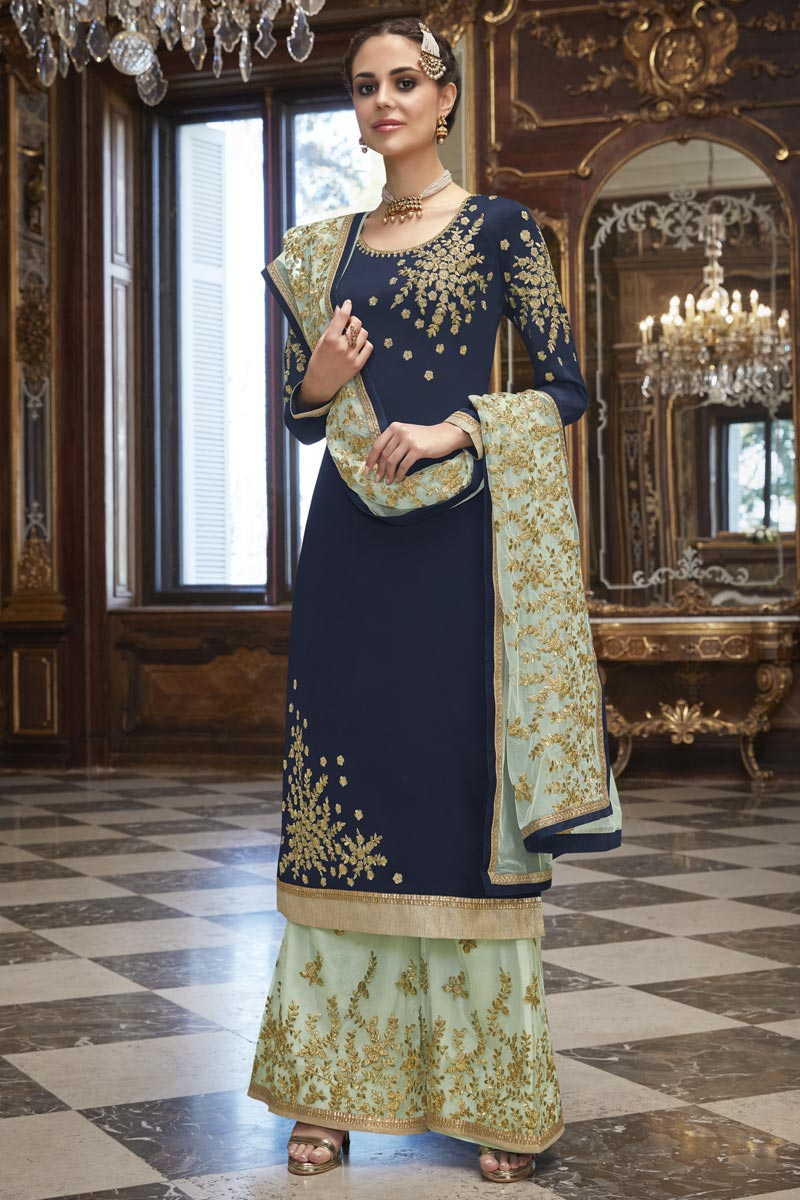 Eid Special Georgette Party Wear Designer Embroidered Navy Blue Palazzo Suit