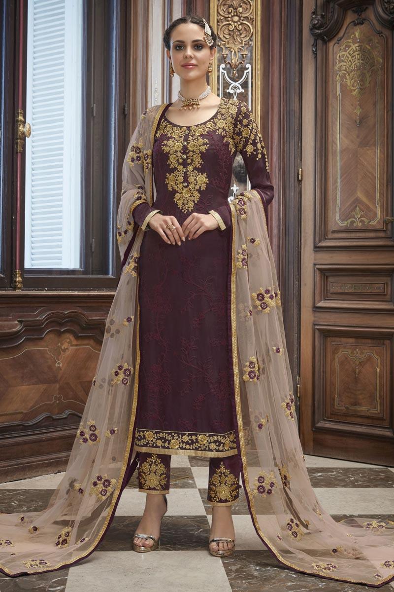 Eid Special Party Wear Wine Color Embroidered Designer Salwar Kameez In Art Silk