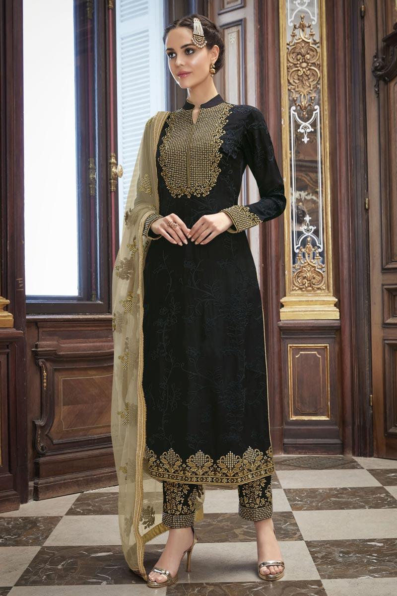 Eid Special Art Silk Party Wear Black Designer Embroidered Straight Cut Dress