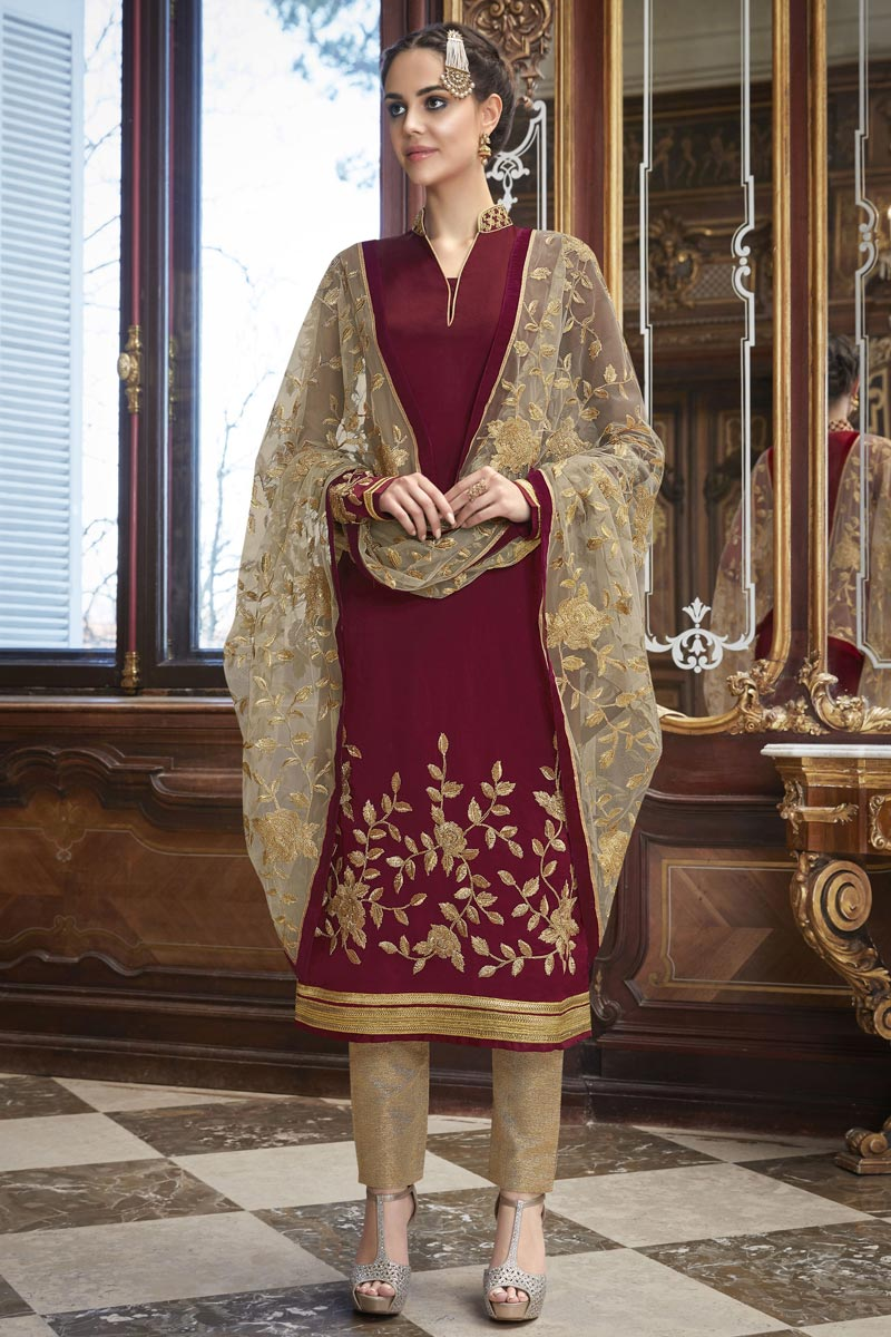 Eid Special Georgette Maroon Party Wear Embroidered Designer Salwar Kameez