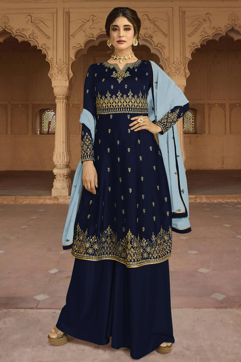 Eid Special Kritika Kamra Georgette Designer Party Style Embroidered Navy Blue Palazzo Suit