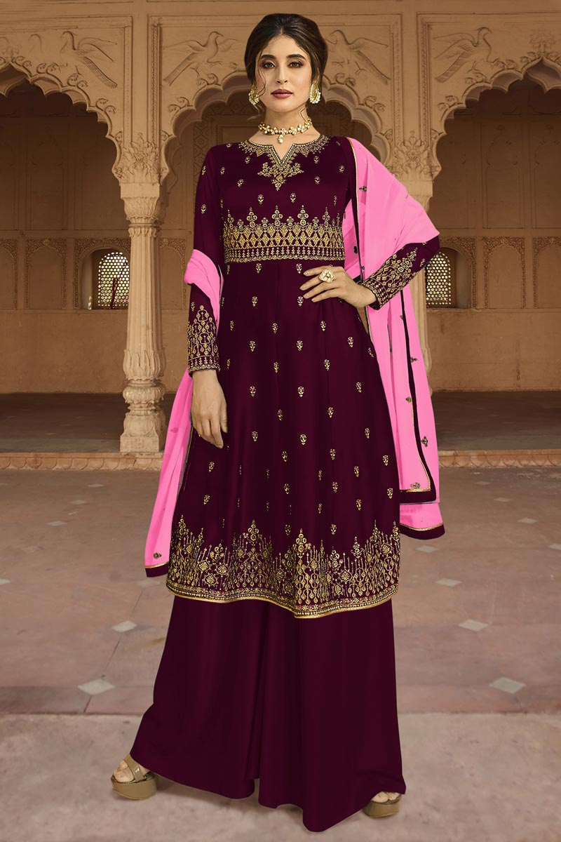 Eid Special Kritika Kamra Designer Wine Color Embroidered Party Style Palazzo Dress In Georgette