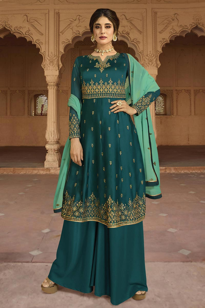 Eid Special Kritika Kamra Designer Party Style Georgette Embroidered Palazzo Dress In Teal