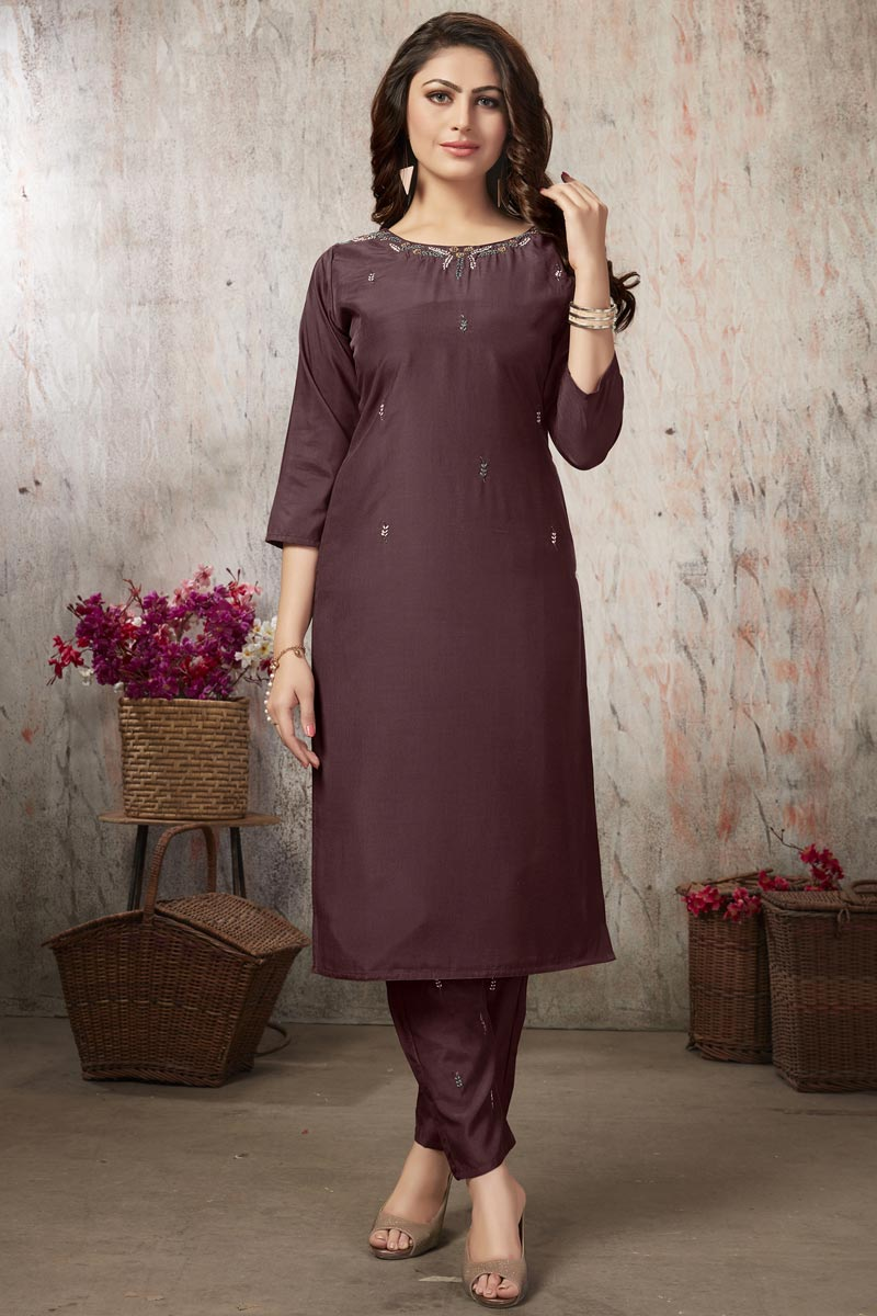 Fancy Fabric Brown Thread Embroidered Festive Wear Kurti With Bottom
