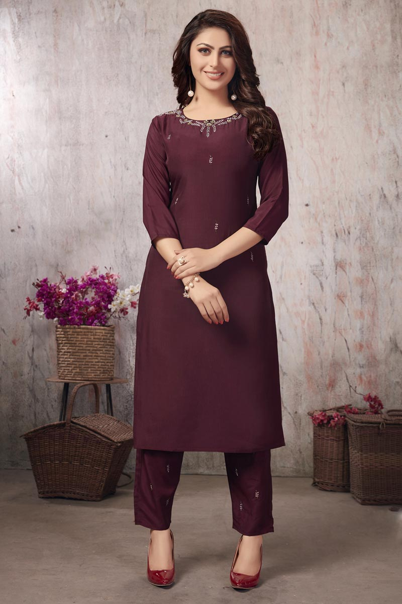 Festive Wear Wine Color Thread Embroidered Kurti With Bottom In Fancy Fabric