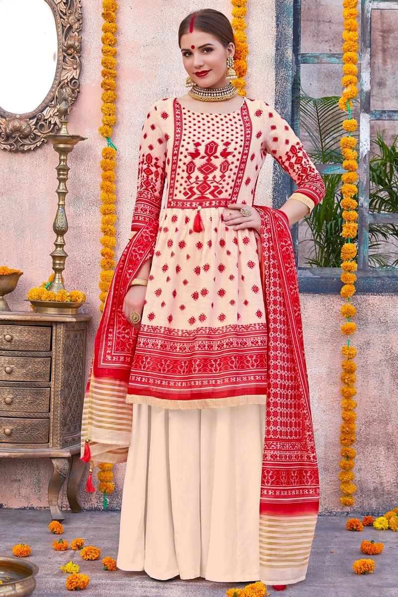 Linen Fabric Cream Color Designer Traditional Wear Palazzo Suit