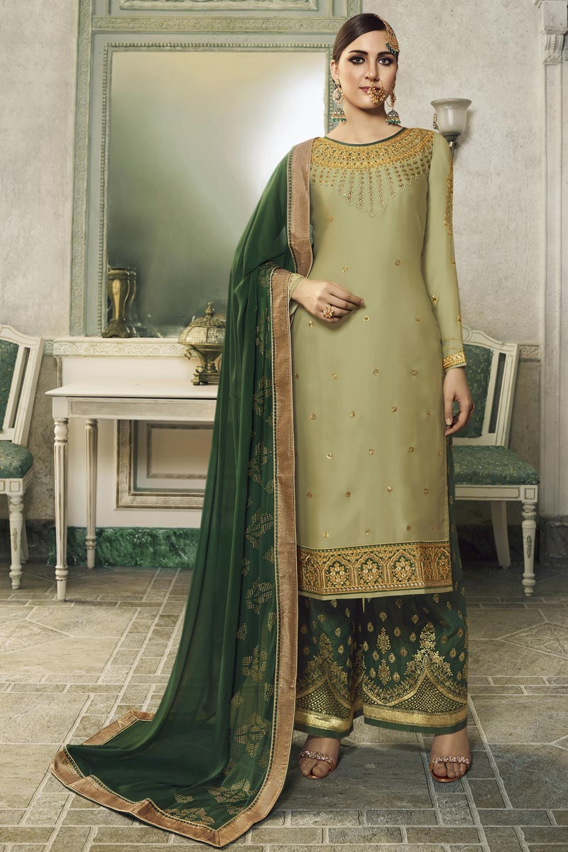 Eid Special Designer Sea Green Embroidered Sangeet Wear Sharara Top Lehenga In Satin Silk