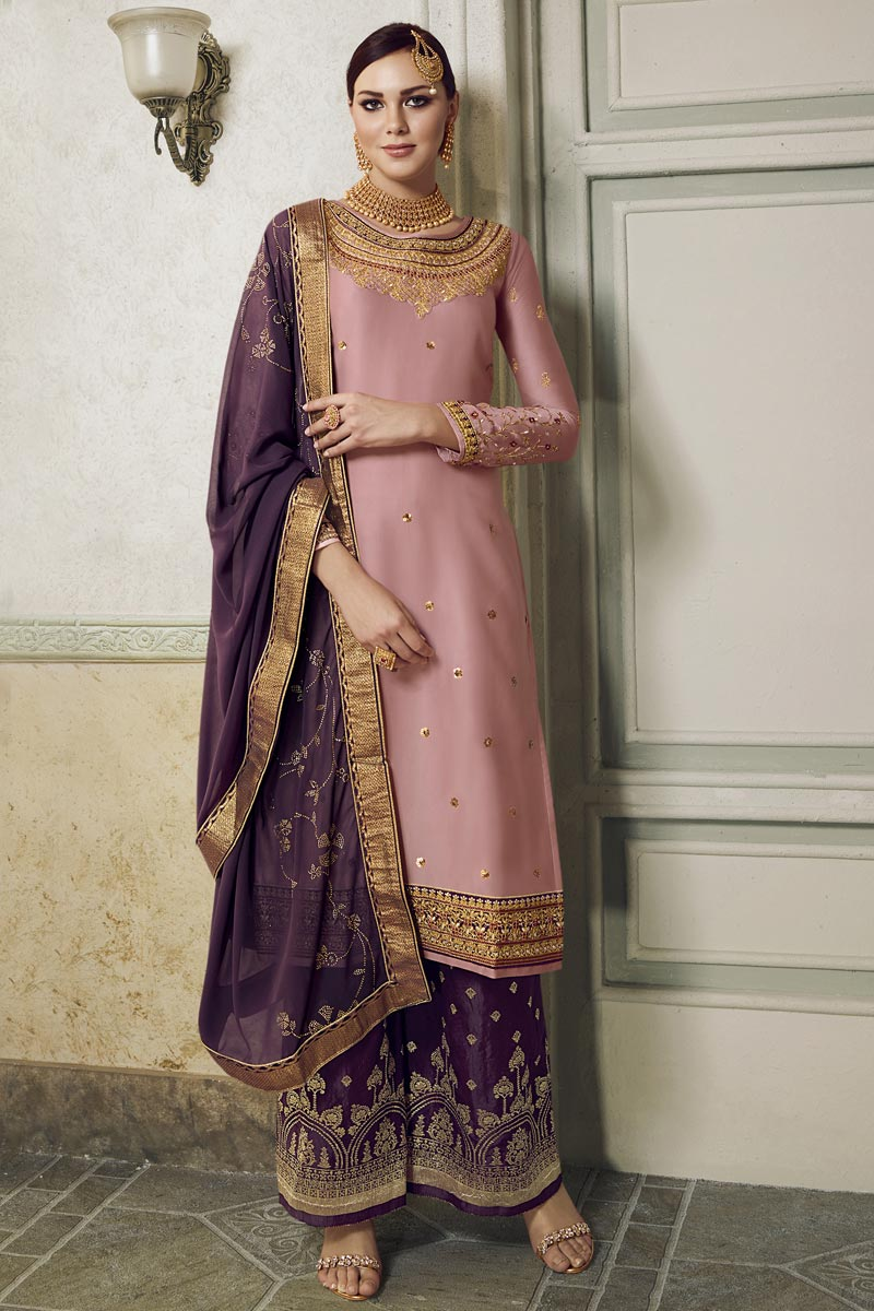 Eid Special Designer Pink Embroidered Sangeet Function Wear Palazzo Dress In Satin Silk Fabric