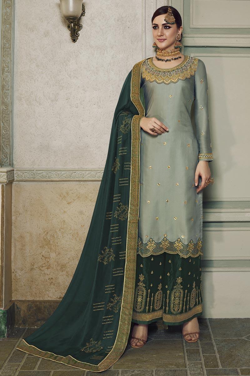 Eid Special Designer Sangeet Wear Satin Silk Embroidered Sharara Top Lehenga In Grey