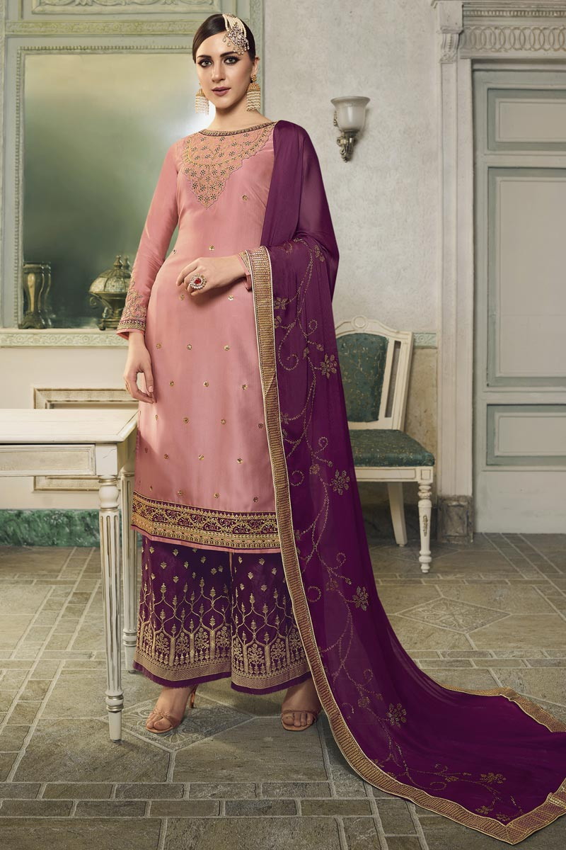 Eid Special Pink Embroidered Designer Sangeet Wear Sharara Top Lehenga In Satin Silk