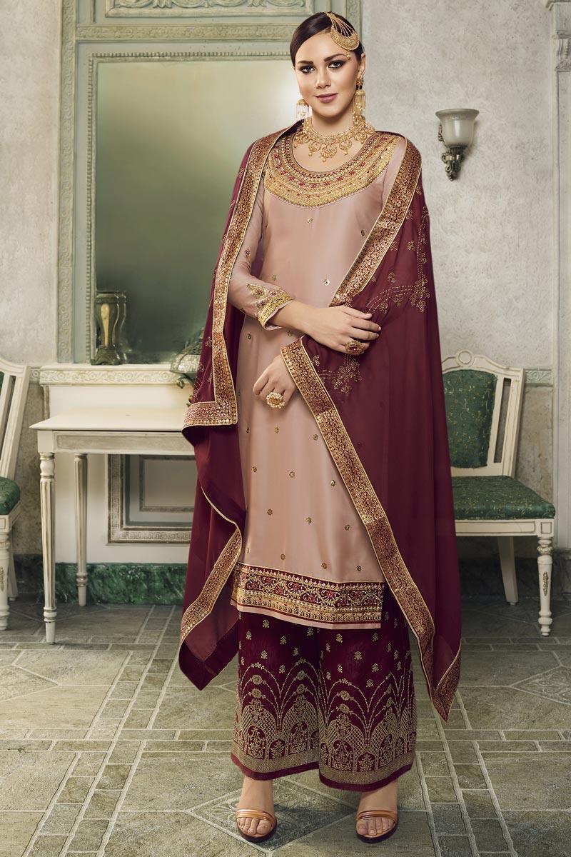 Eid Special Peach Designer Sangeet Wear Embroidered Satin Silk Sharara Top Lehenga