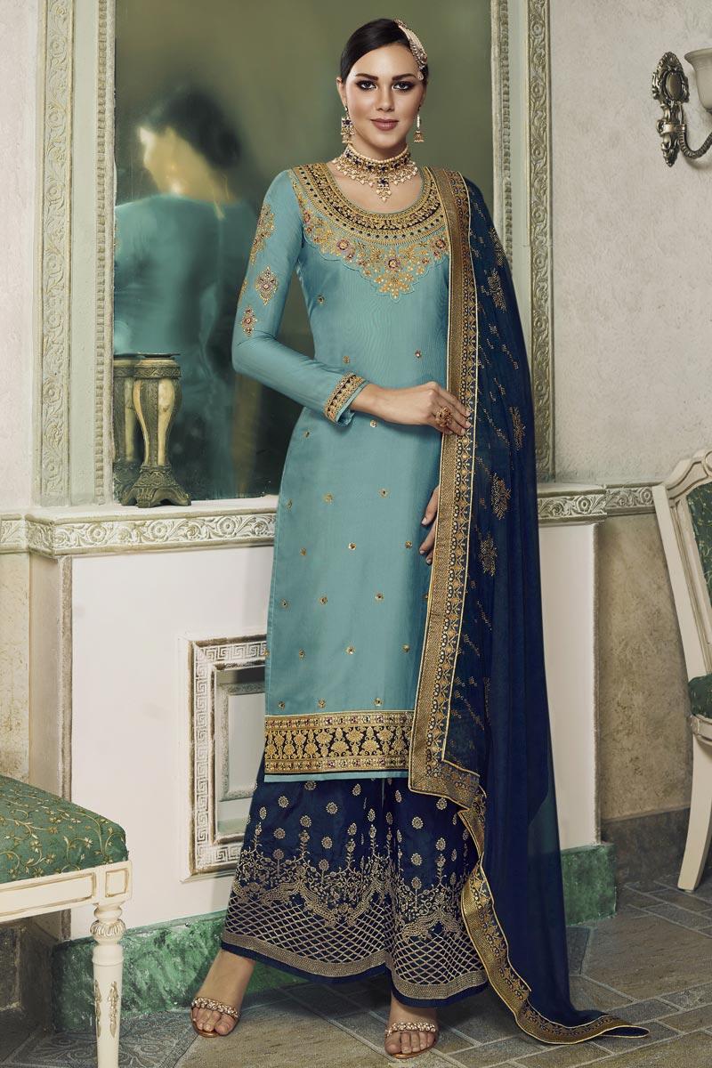 Eid Special Designer Satin Silk Embroidered Sangeet Wear Sharara Top Lehenga In Cyan