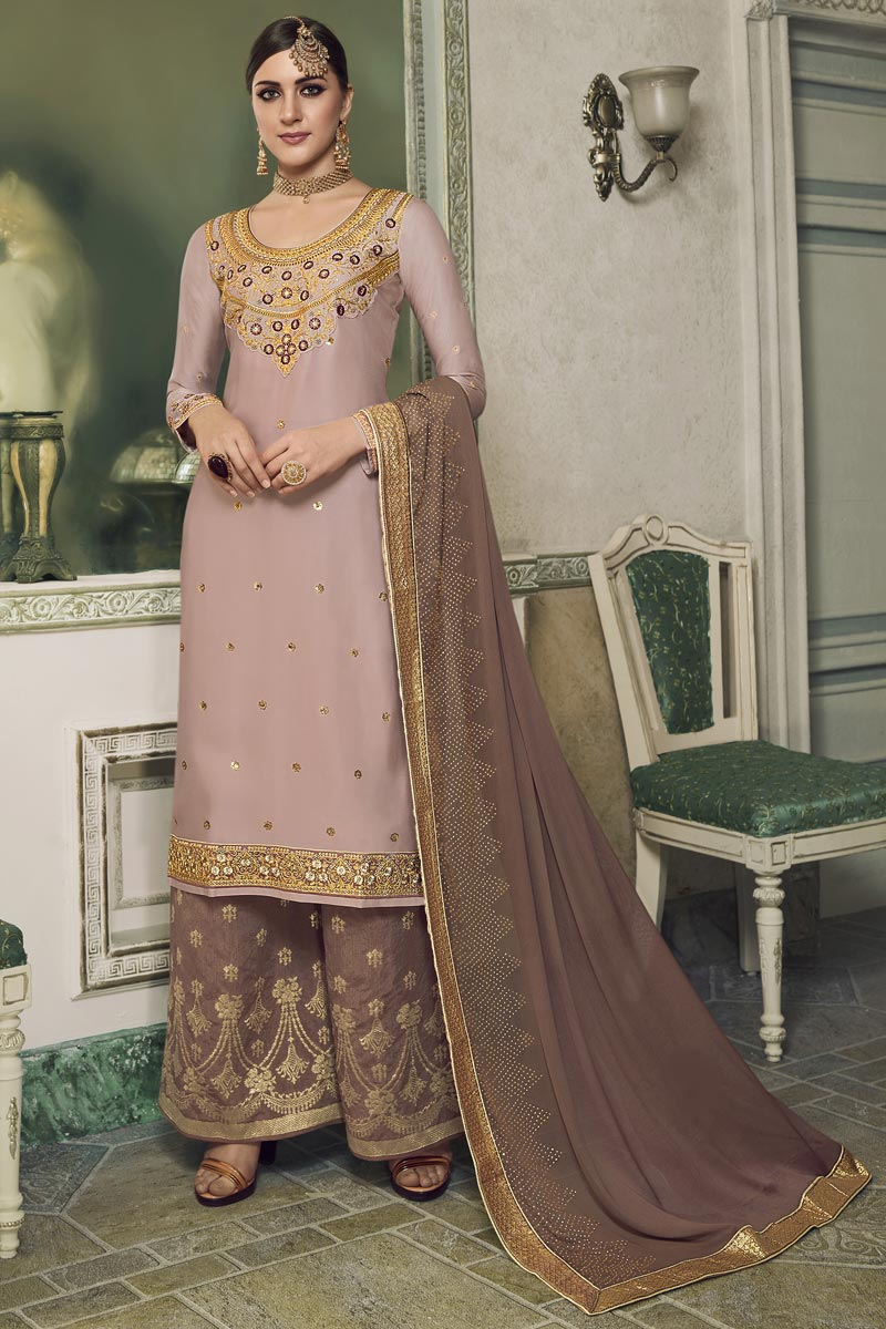 Designer Satin Silk Fabric Embroidered Sangeet Function Wear Palazzo Dress In Pink