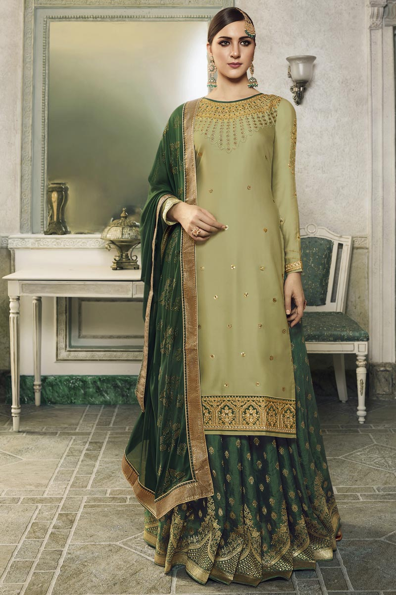 Eid Special Designer Sea Green Embroidered Sangeet Function Wear Palazzo Dress In Satin Silk Fabric