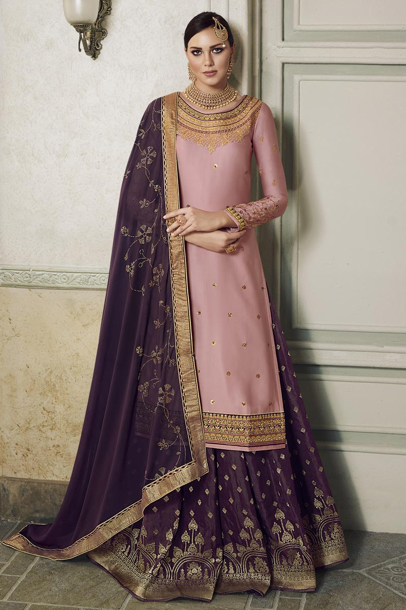 Eid Special Satin Silk Fabric Designer Sangeet Function Wear Pink Embroidered Palazzo Suit