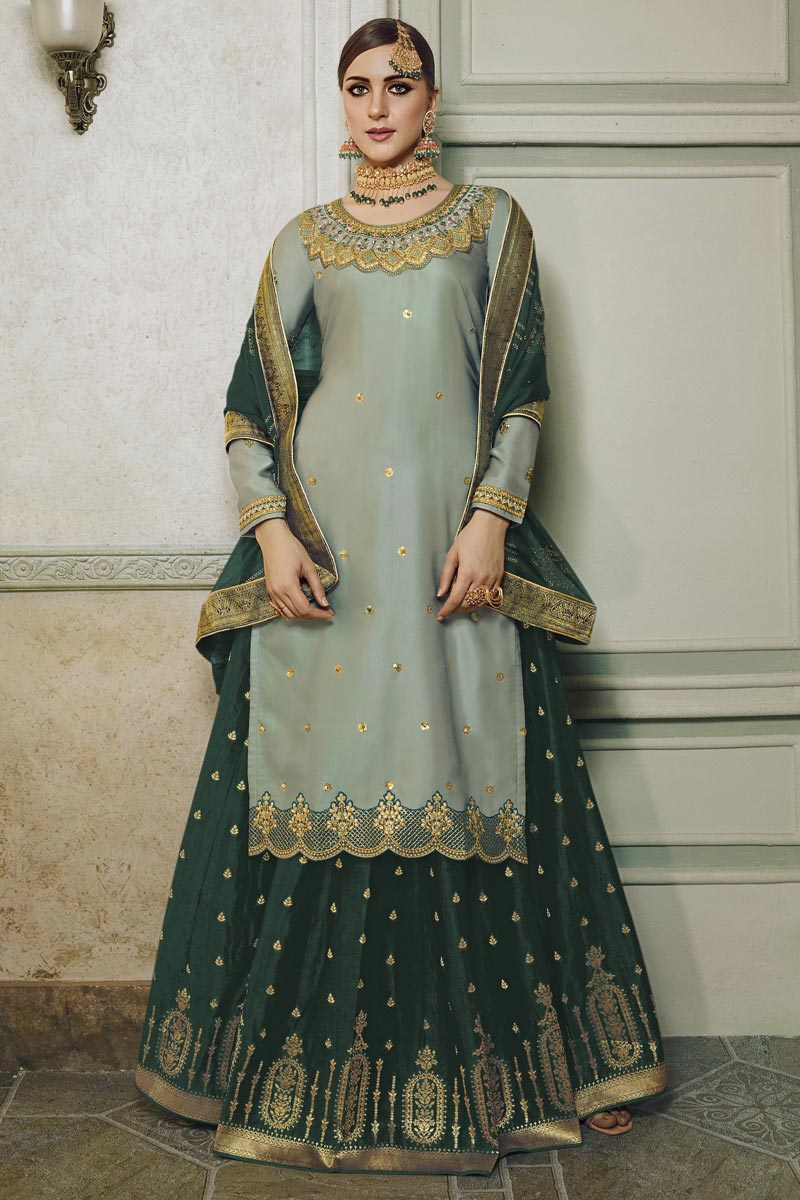 Eid Special Designer Sangeet Function Wear Satin Silk Fabric Embroidered Palazzo Dress In Grey