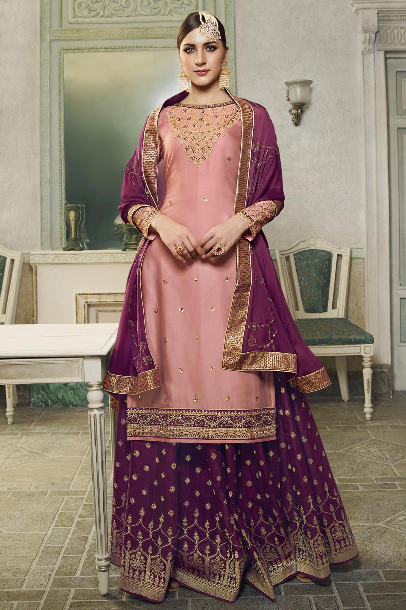 Eid Special Pink Embroidered Designer Sangeet Function Wear Palazzo Dress In Satin Silk Fabric
