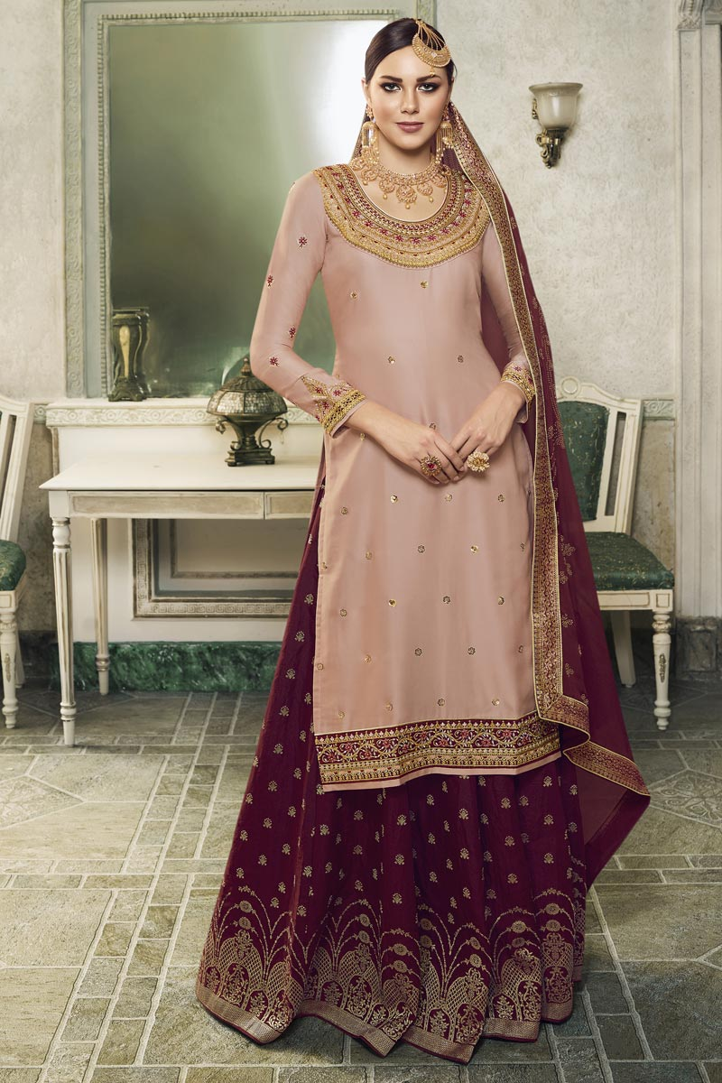 Eid Special Peach Designer Sangeet Function Wear Embroidered Satin Silk Fabric Palazzo Suit