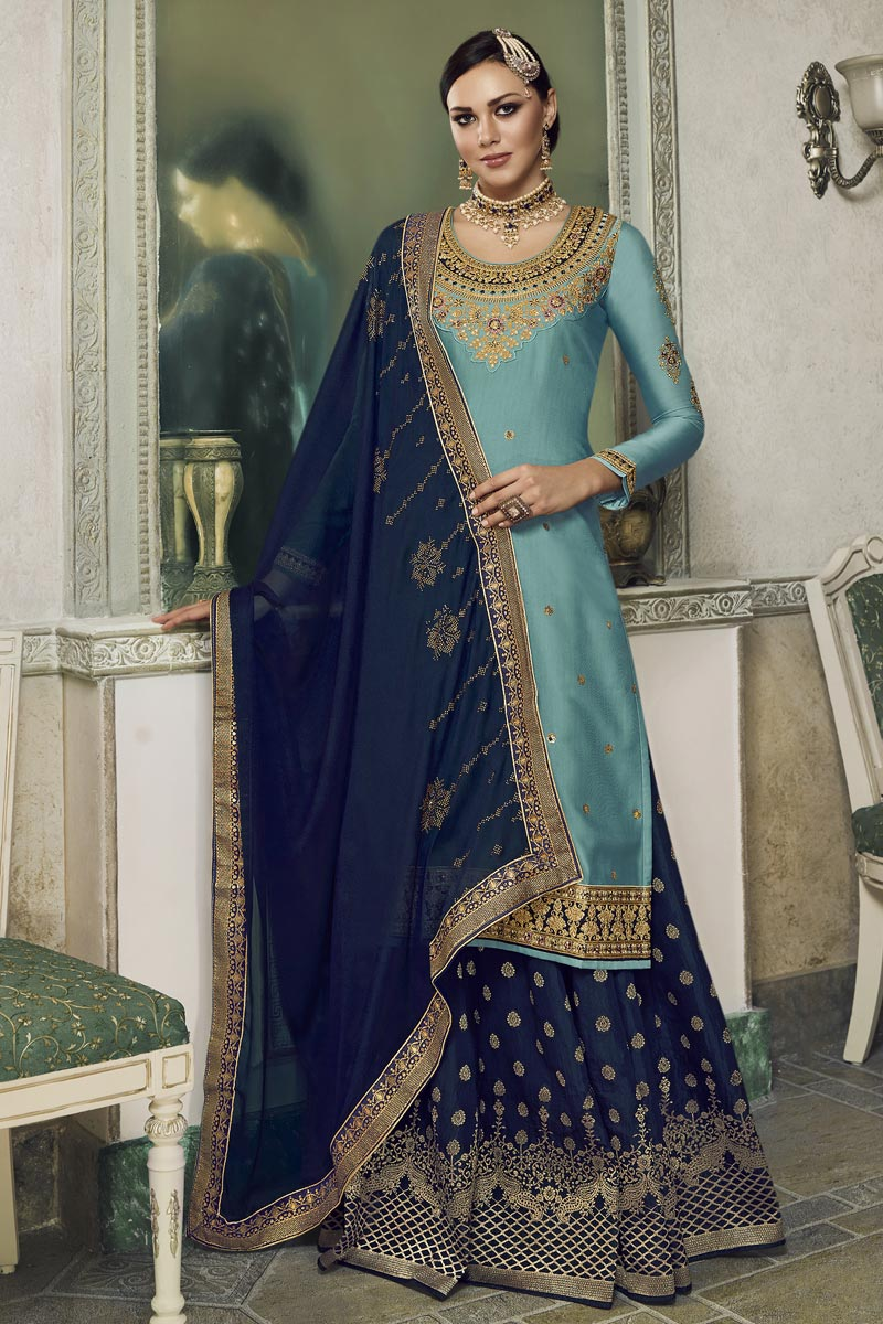 Eid Special Designer Satin Silk Fabric Embroidered Sangeet Function Wear Palazzo Dress In Cyan