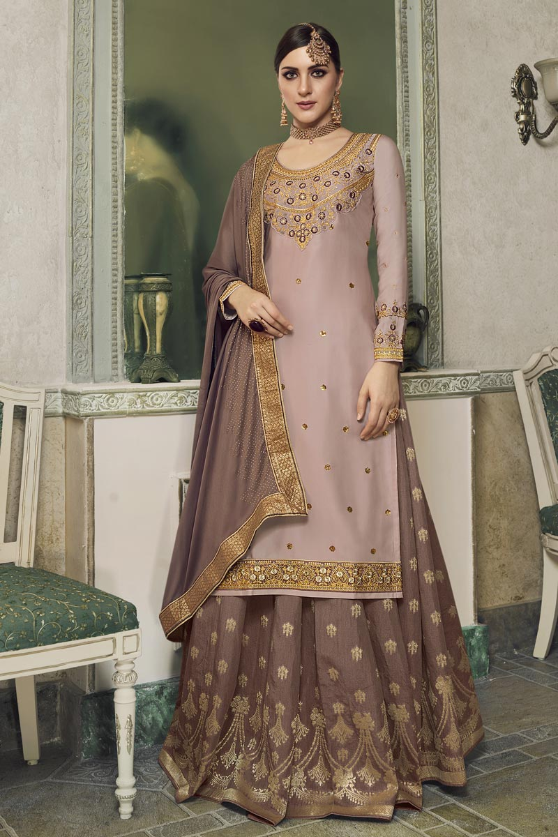 Eid Special Pink Designer Sangeet Function Wear Satin Silk Fabric Embroidered Palazzo Suit