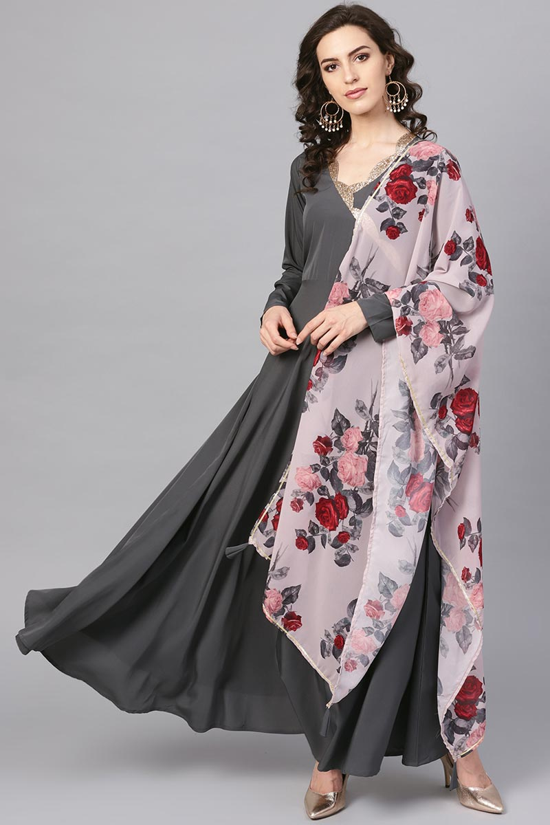 Fancy Fabric Festive Wear Grey Color Readymade Gown With Printed Dupatta