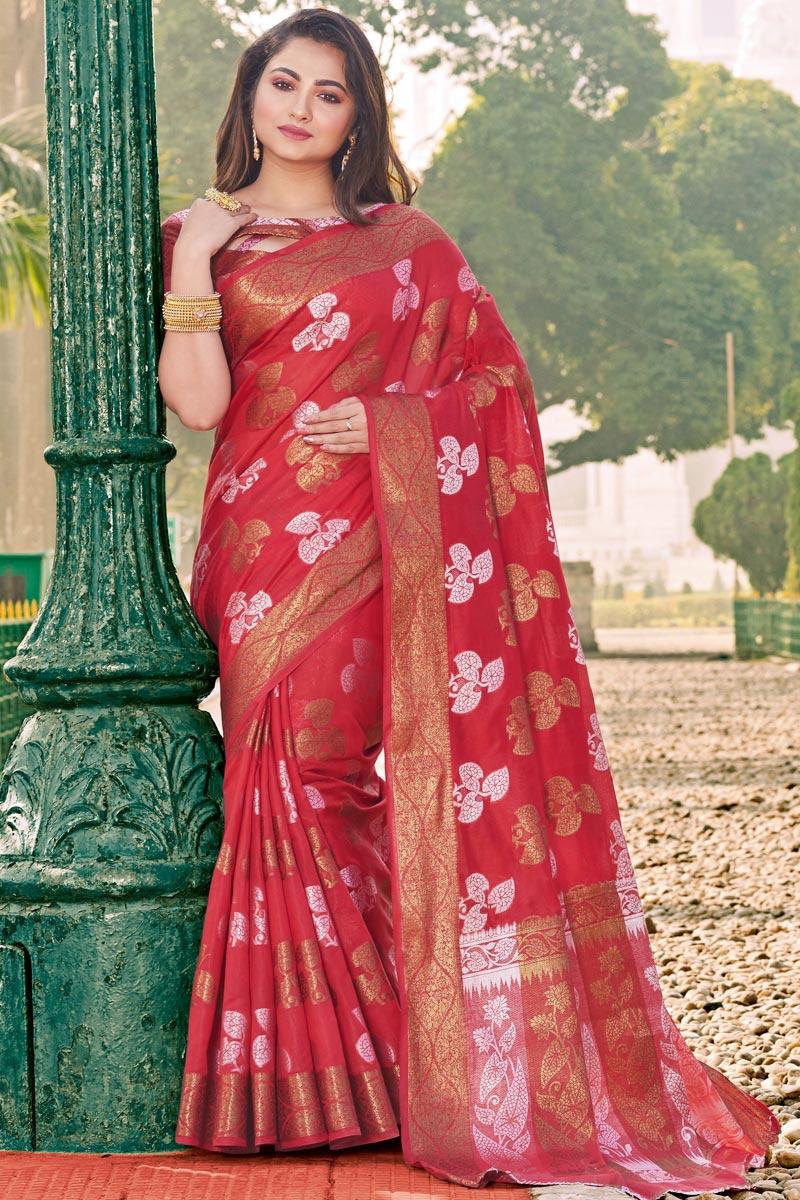 Cotton Fabric Red Classical Designer Festive Wear Saree