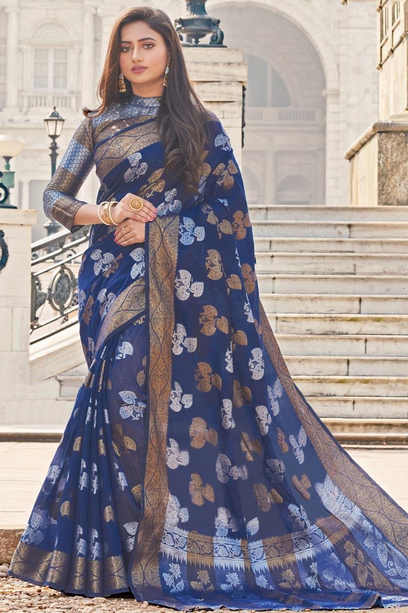 Classical Designer Cotton Fabric Festive Wear Saree In Navy Blue