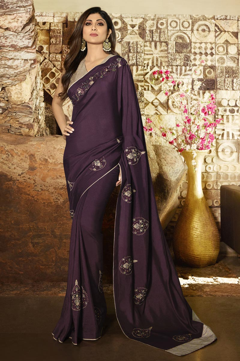 Eid Special Shilpa Shetty Wine Color Designer Art Silk Party Style Saree With Fancy Blouse