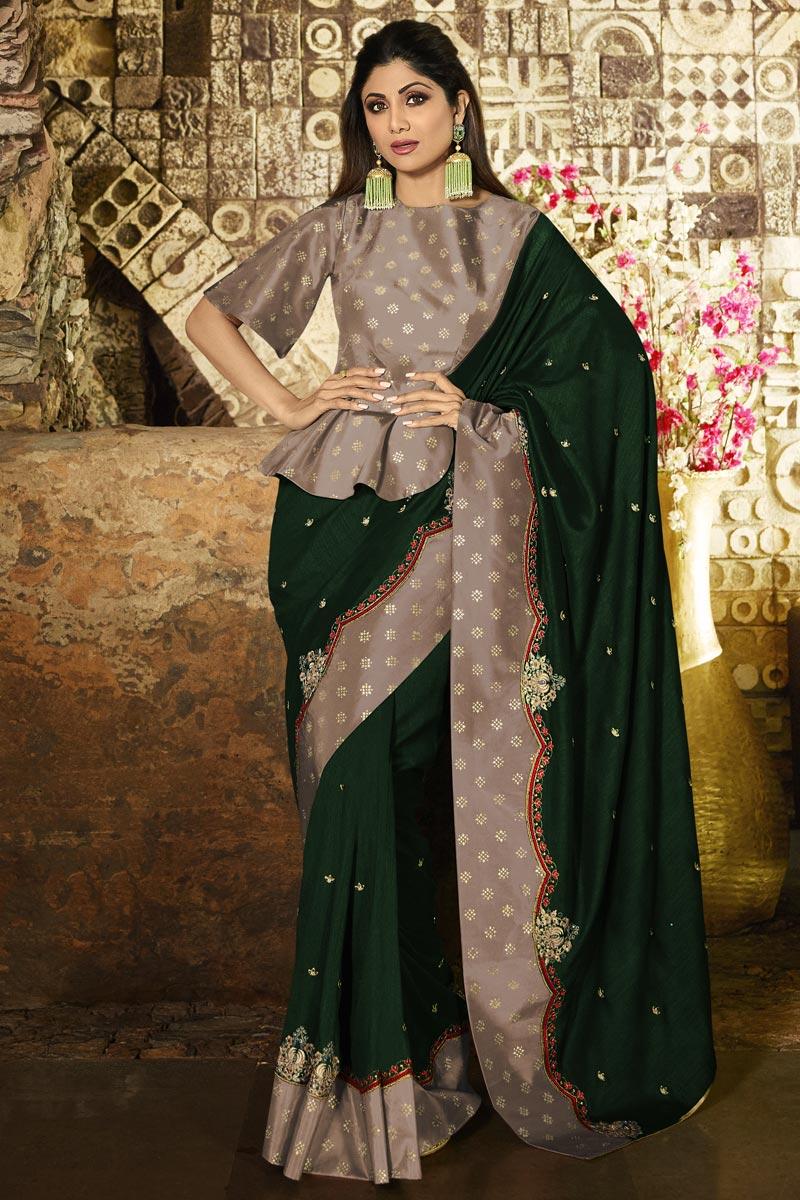 Eid Special Shilpa Shetty Designer Party Style Dark Green Art Silk Saree With Fancy Blouse
