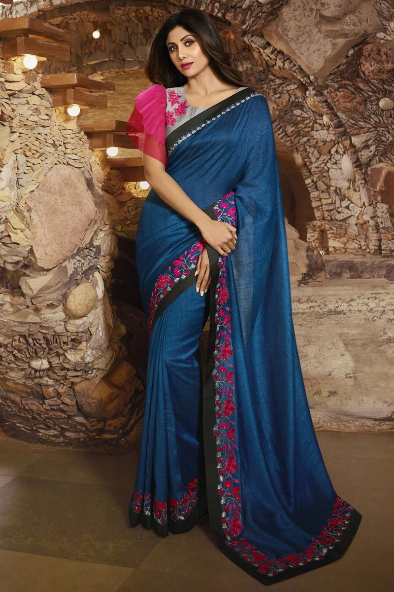 Shilpa Shetty Designer Art Silk Blue Party Style Saree With Fancy Blouse