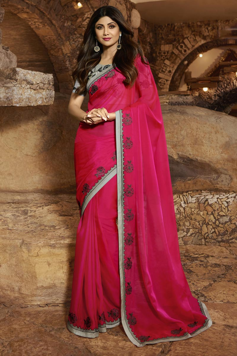 Eid Special Shilpa Shetty Elegant Party Style Georgette Rani Color Saree With Fancy Blouse