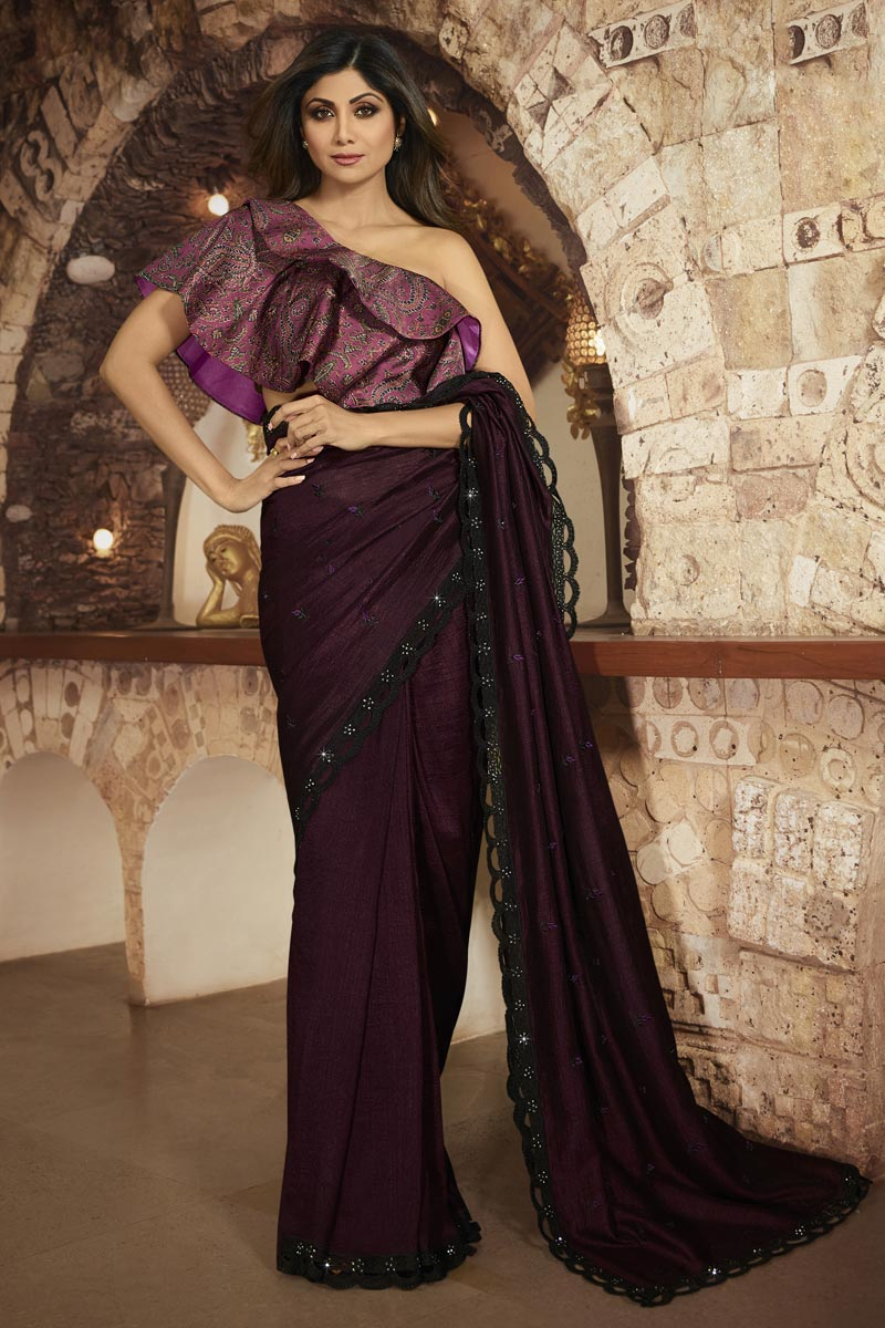 Shilpa Shetty Elegant Art Silk Party Style Wine Color Saree With Fancy Blouse