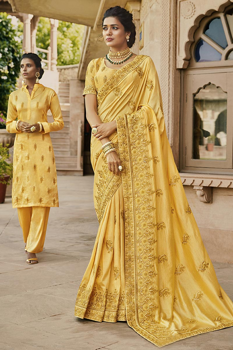 Traditional Yellow Party Wear Designer Embroidered Saree In Satin Fabric