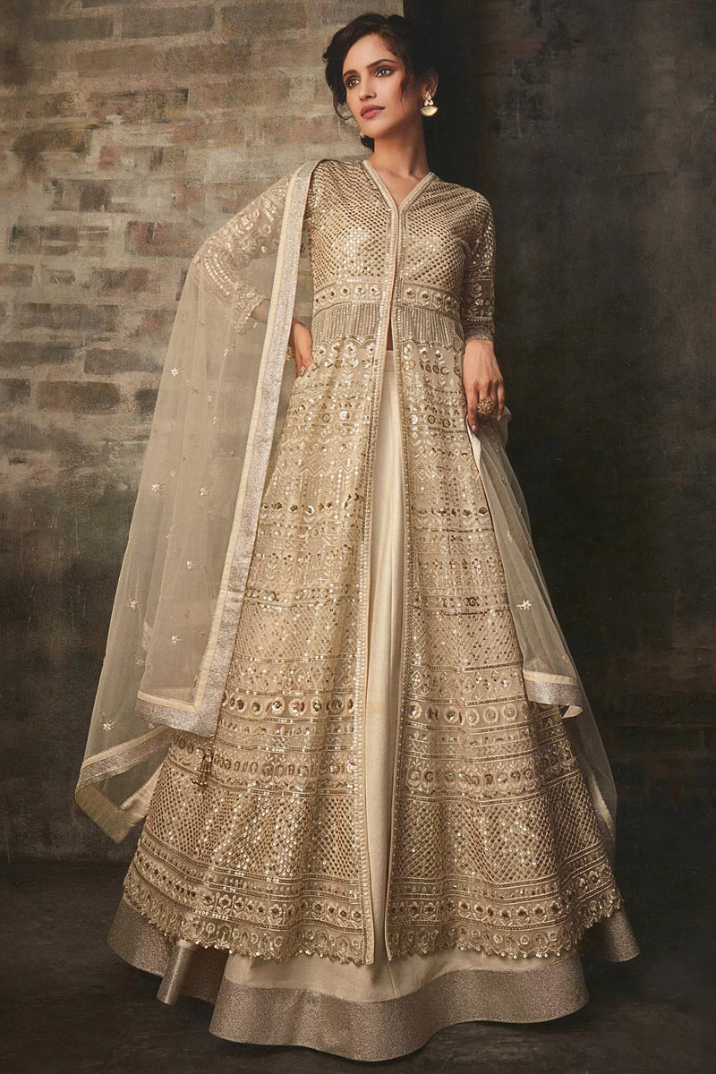 Net Fabric Function Wear Cream Color Embroidered Long Anarkali Dress