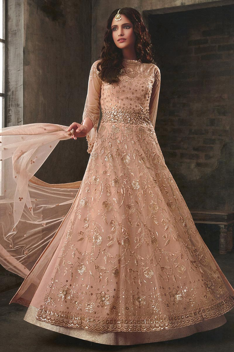 Eid Special Function Wear Peach Color Net Fabric Embroidered Floor Length Anarkali Suit