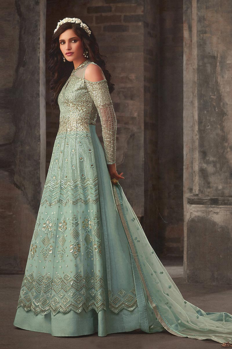 Eid Special Function Wear Net Fabric Cyan Color Embroidered Floor Length Anarkali Suit